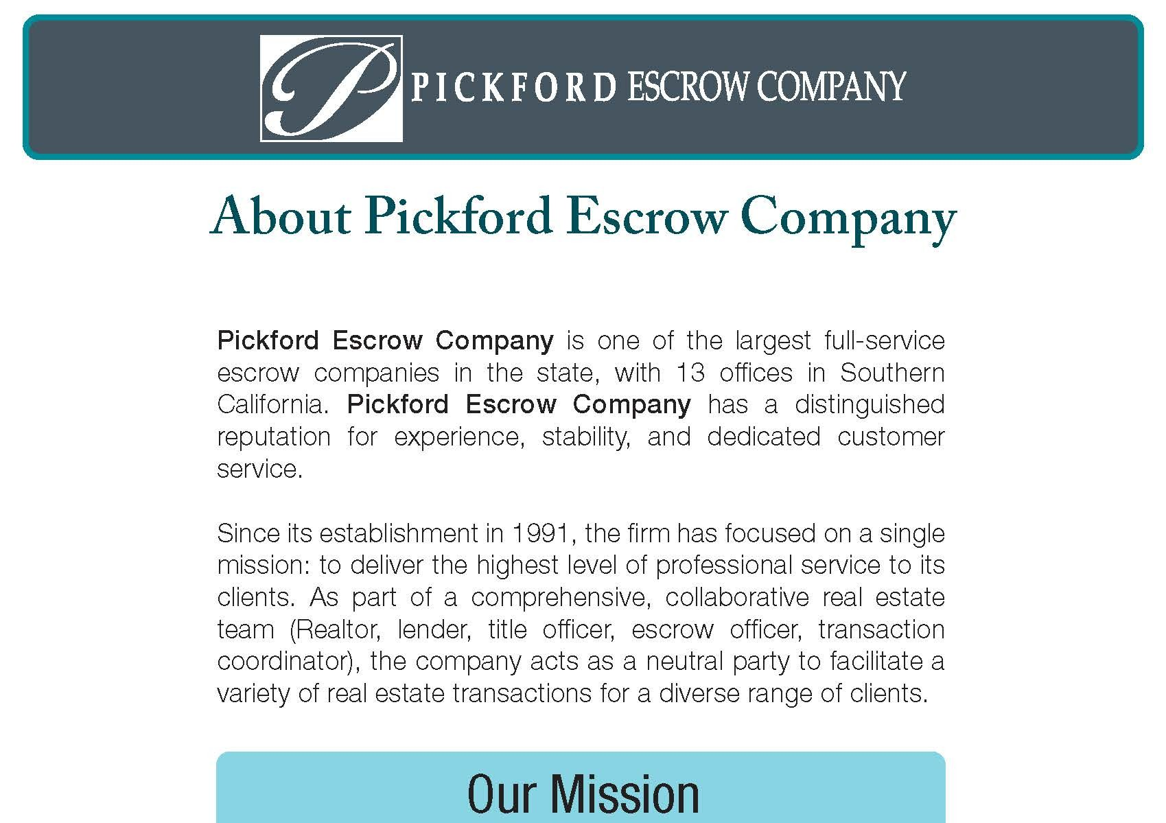 About Pickford Escrow Company