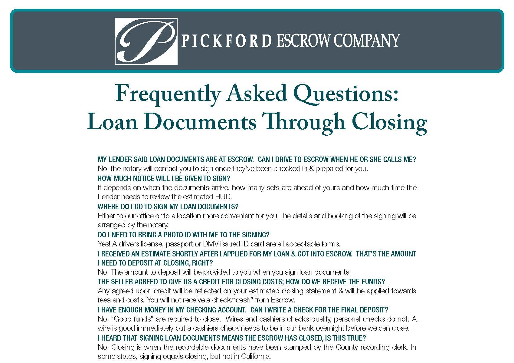 FAQ-Loan Docs to Close