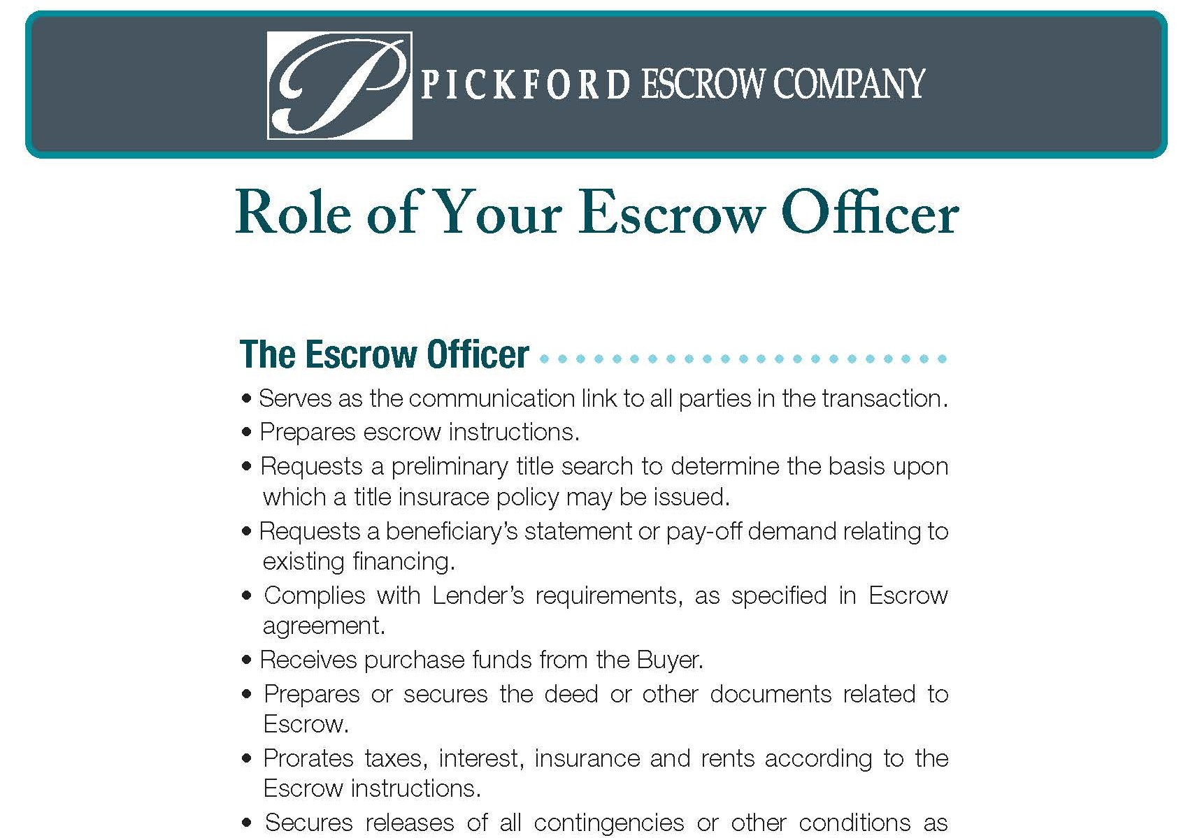 Role of Your Escrow Officer